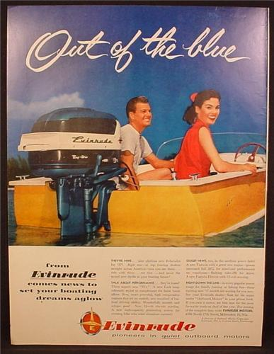 Magazine Ad For Evinrude Lark Big Trim Outboard Motor, Engine, Out Of The Blue, 1956