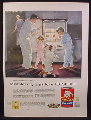 Magazine Ad For Friskies Dog Food, Dog Begging for Food As Family Raid The Fridge at Night 1956