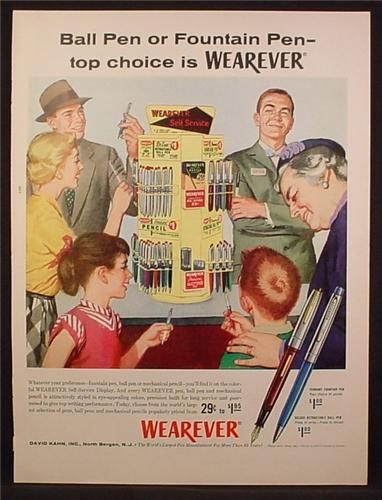 Magazine Ad For Wearever Pens, Ball Point or Fountain, Large Store Display, 1956