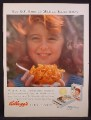 Magazine Ad For Kellogg's Corn Flakes, Red Haired Girl With Face in Sun, 1956