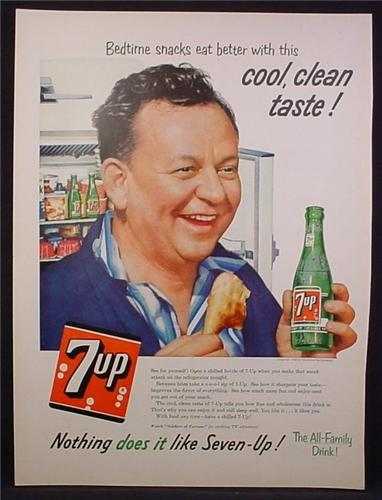 Magazine Ad For 7UP Seven-UP, Bedtime Snacks Eat Better, 1956