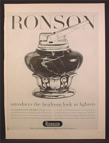 Magazine Ad For Ronson Lighter, Heirloom Look, Nordic Table Lighter, 1956