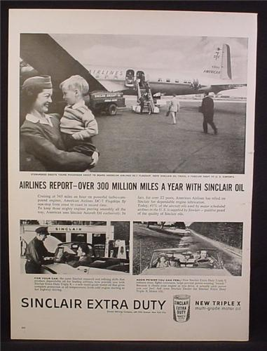 Magazine Ad For Sinclair Extra Duty Oil, American Airlines DC-7, Stewardess Holding Boy, 1956