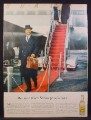 Magazine Ad For Schweppes Quinine Water, Tonic Mixer, Man Getting Off BOAC Airplane, 1956