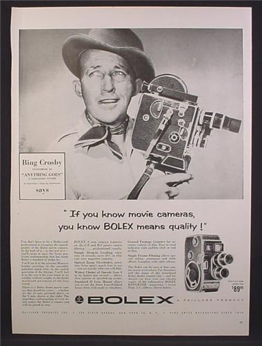 Magazine Ad For Bolex B-8 & C-8 Movie Cameras, Bing Cosby, Celebrity Endorsement, 1956