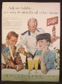 Magazine Ad For Schlitz Beer, Man & Woman Being Served By Waiter in Uniform, 1956