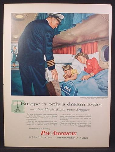 Magazine Ad For Pan Am, Pan American Airlines, Pilot, Mom & Daughter in Sleeperette, 1956