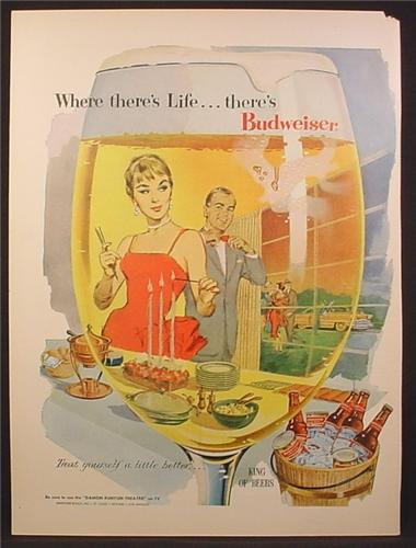 Magazine Ad For Budweiser Beer, Looking Through Glass at Couple Hosting a Party, 1956