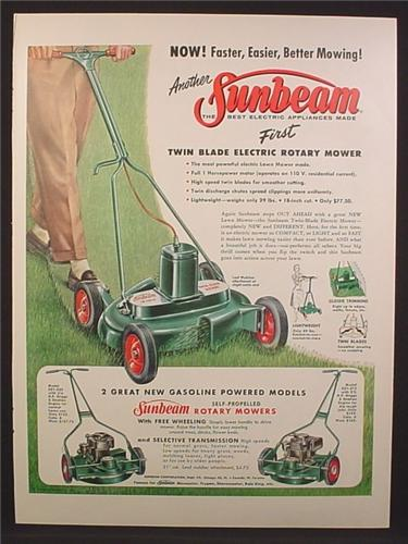 Magazine Ad For Sunbeam First Twin Blade Electric Rotary Mower, Lawn, 1956