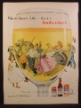 Magazine Ad For Budweiser Beer, Looking Through Glass at People Square Dancing, 1956