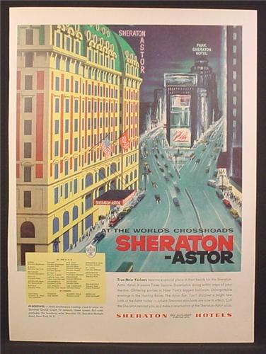 Magazine Ad For Sheraton-Astor Hotel, Sheraton Astor, New York, Times Square, 1956