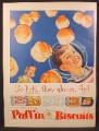 Magazine Ad For Puffin Biscuits, Tube of Dough, Buttermilk, 1956