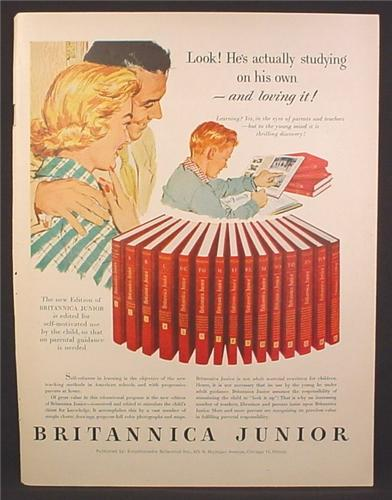 Magazine Ad For Britannica Junior Encyclopedia, He's Actually Studying On His Own, 1956