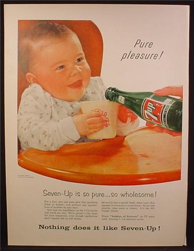 Magazine Ad For 7UP Seven-Up, Filling a Babies Cup with 7UP, So Wholesome, 1956