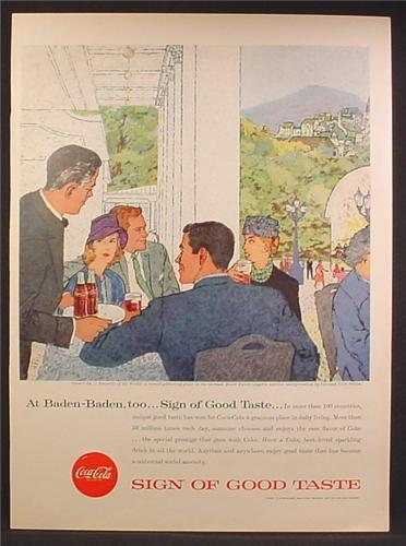 Magazine Ad For Coca-Cola, Coke, Baden-Baden Germany, Jack Potter Painting, 1957