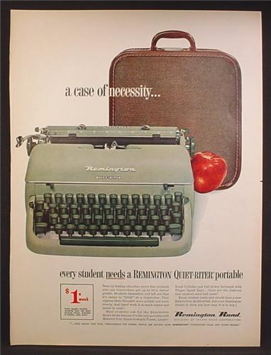 Magazine Ad For Remington Quiet-Riter Portable Typewriter, Green, Carrying Case, 1957