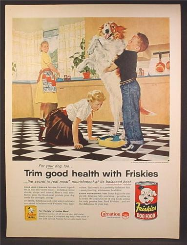 Magazine Ad For Friskies Dog Food, 2 Kids Trying to Get a Large Dog to Stand on Scales, 1957