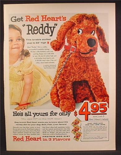 Magazine Ad For Red Heart Dog Food, Offer for Large Reddy Stuffed Dog Toy, 1957