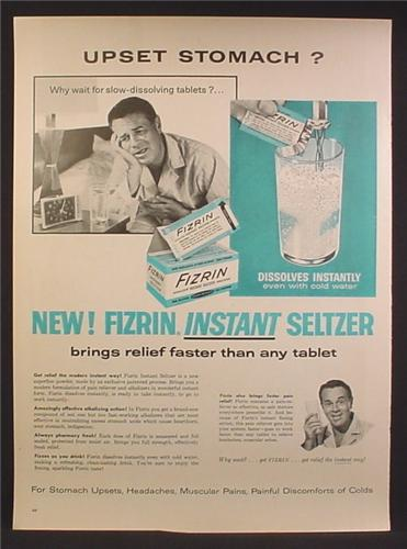 Magazine Ad For Fizrin Instant Seltzer Tablet, Dissolves In Water, Upset Stomach, 1957