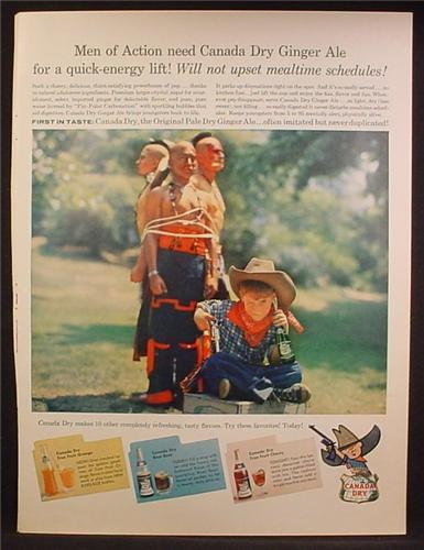 Magazine Ad For Canada Dry True Fruit Drink, Root Beer, Cherry Soda, Cowboy Costume 1957