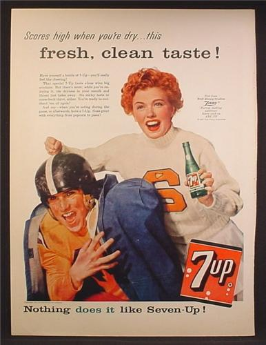 Magazine Ad For 7UP Seven-Up, Football Player & Cheerleader, 1957