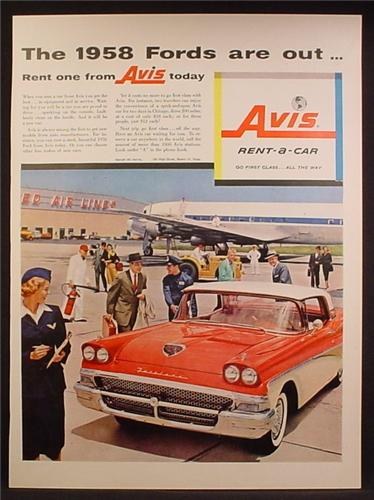 Magazine Ad For Avis Rent-A-Car, 1958 Fords Are Out, Rent One, Workers in Uniform, 1957