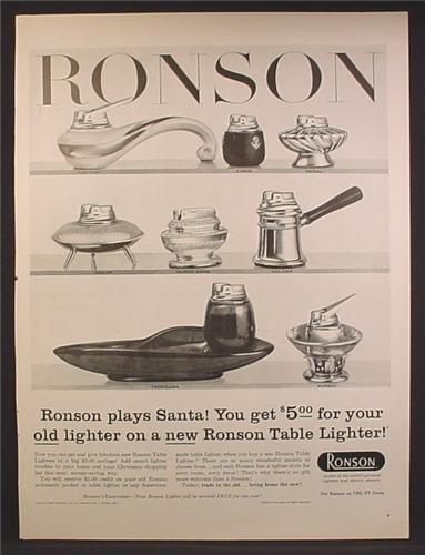 Magazine Ad For Ronson Lighters, 8 Table Models Pictured, 1957