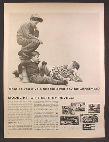 Magazine Ad For Revell Model Kit Sets, Army Combat Team, Airborne Marines, Navy Log, 1957