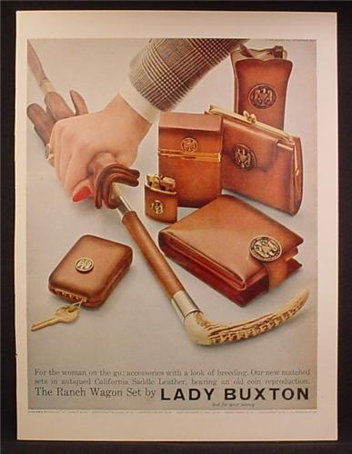 Magazine Ad For Lady Buxton Ranch Wagon Set, Purse, Gloves, Lighter, Key Case, 1957