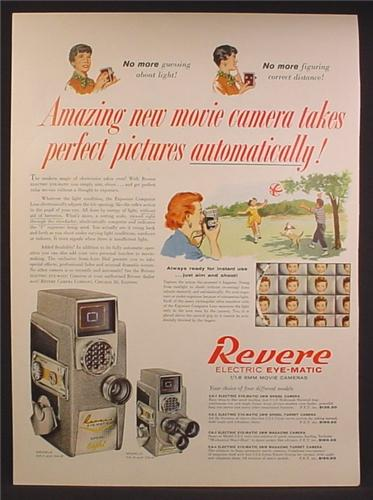 Magazine Ad For Revere Electric Eye-Matic 8mm Movie Camera, 1957