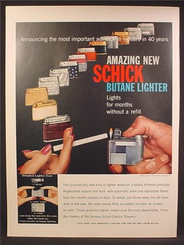 Magazine Ad For Schick Butane Lighters, 14 Different Models Pictured, 1957