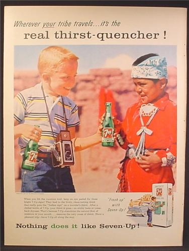 Magazine Ad For 7UP Seven-Up, Redhead Kid Gives Bottle to Native American Indian Boy, 1957
