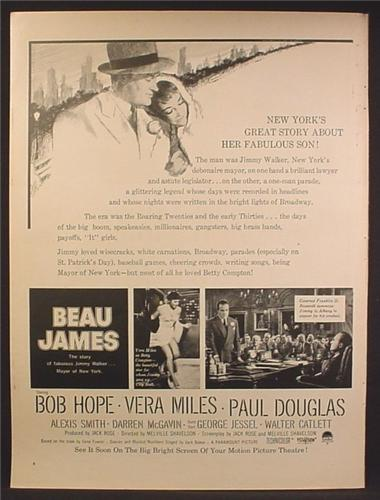 Magazine Ad For Beau James Movie, Bob Hope, Vera Miles, 1957