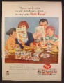 Magazine Ad For Post Cereal Post-Tens Variety Pack, Family Planning a Vacation, 1957