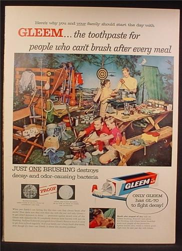 Magazine Ad For Gleem Toothpaste, Family Camping with a Ton of Stuff, 1957