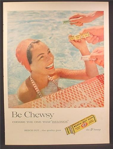Magazine Ad For Beech-Nut Gum, Beech Nut, Woman in Pool Choosing Gum, 1957