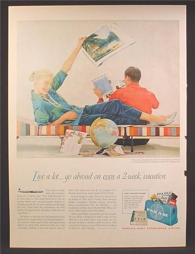 Magazine Ad For Pan Am, Pan American Airlines, Bag with Vacation Planner, 1957