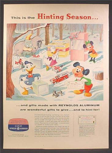 Magazine Ad For Reynolds Aluminum, Walt Disney Cartoon Characters, Hinting Season, 1957