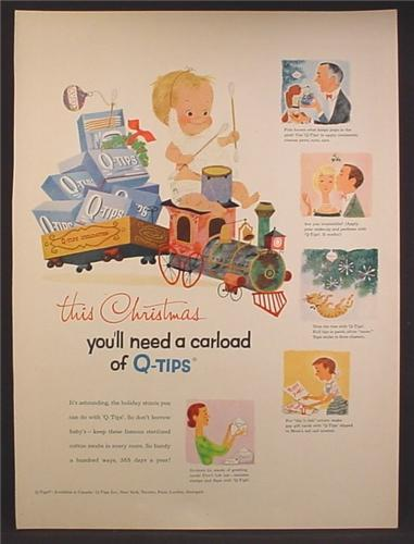 Magazine Ad For Q-Tips, Baby With Beard on Toy Train, Need A Carload, 1957