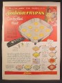 Magazine Ad For Sunbeam Electric Fry Pan, 3 Model Colors, 9 Fried Eggs in Pan, 1957