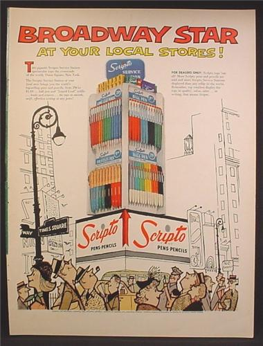 Magazine Ad For Scripto Pens & Pencils Large Store Display, Broadway Star, 1957