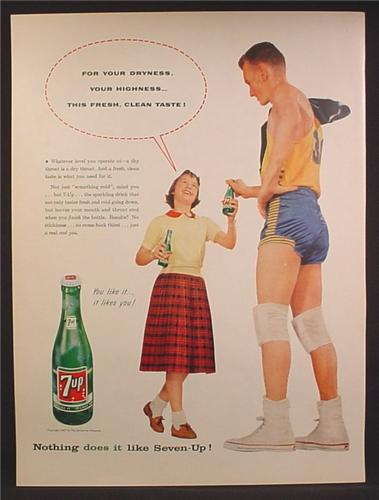 Magazine Ad For 7UP Seven-Up, Girl Hands Bottle to Giant of a Basketball Player, 1957