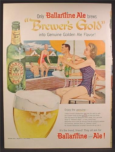 Magazine Ad For Ballantine Ale, Beer, 2 Couples At The Pool, 1957