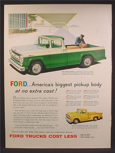 Magazine Ad For Ford Styleside Pickup Truck, Custom Kab, Green & White, 1957