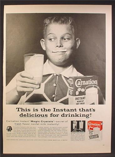 Magazine Ad For Carnation Instant Nonfat Dry Milk, Boy With Milk Smile,  Early Got Milk, 1957