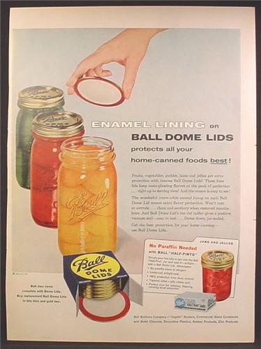 Magazine Ad For Ball Sealer Jars, Dome Lids, Half Pint, 1957