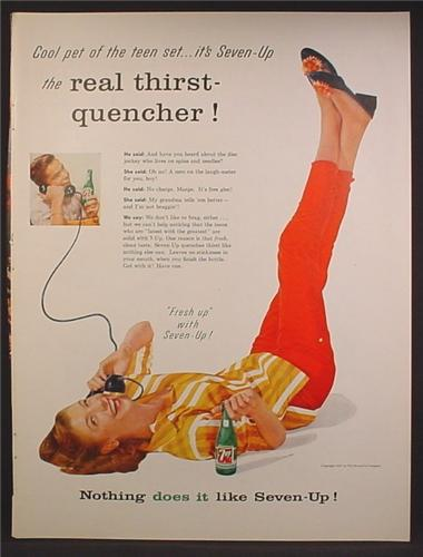 Magazine Ad For 7UP Seven-Up, Girl on Phone with Her Legs Up In The Air, 1957