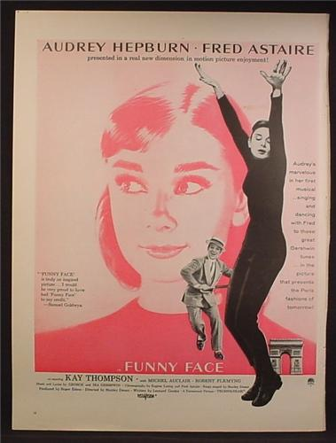 Magazine Ad For Funny Face Movie, Audrey Hepburn, Fred Astaire, Poster, 1957