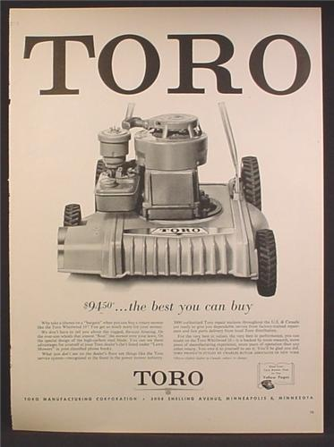 Magazine Ad For Toro Whirlwind 18 Lawn Mower, The Best You Can Buy, 1957