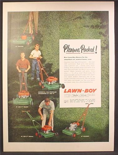 Magazine Ad For Lawn-Boy Lawn Mowers, 5 Models, Pictured, Lawn Boy, 1957